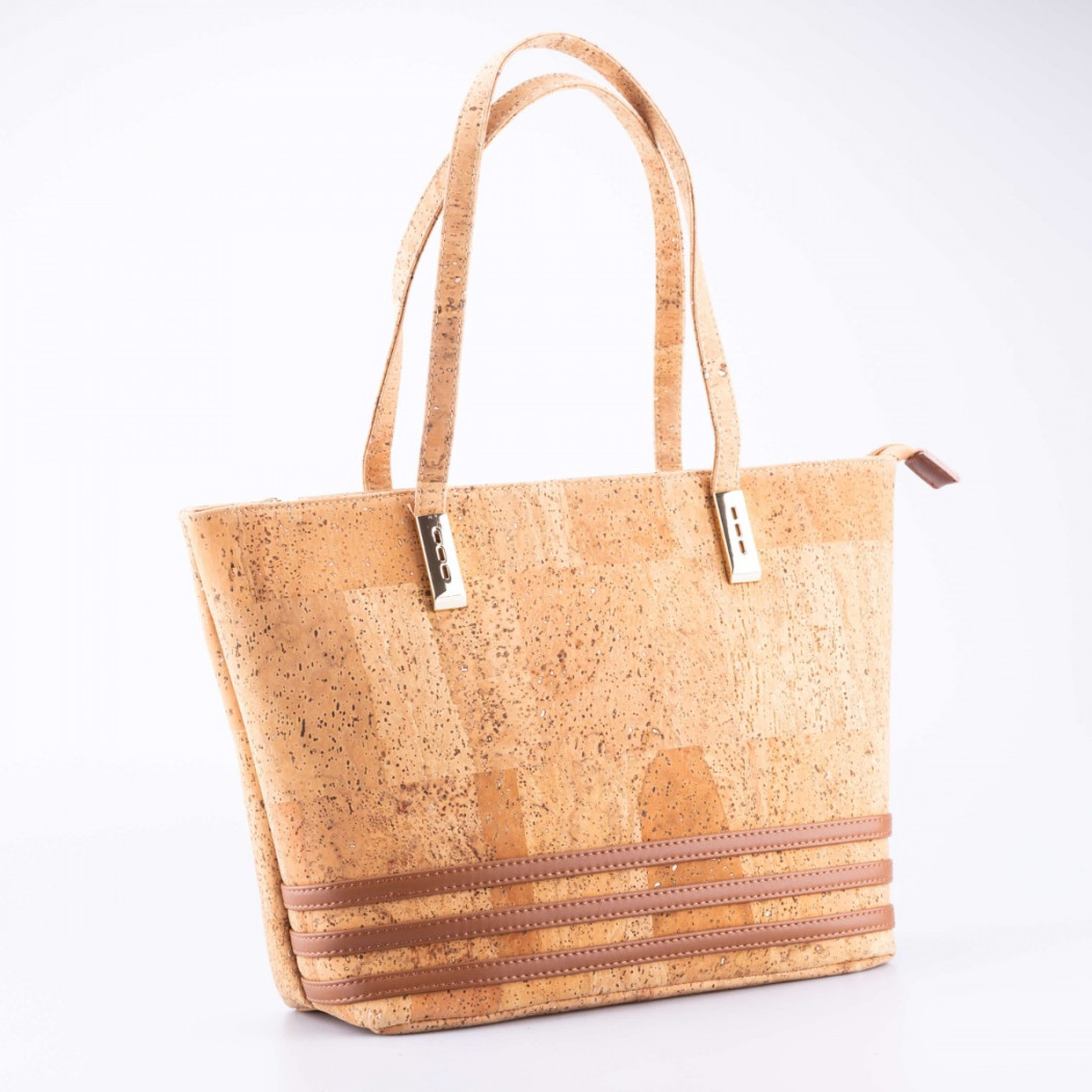 Cork Shoulder Bag with Three Stripes