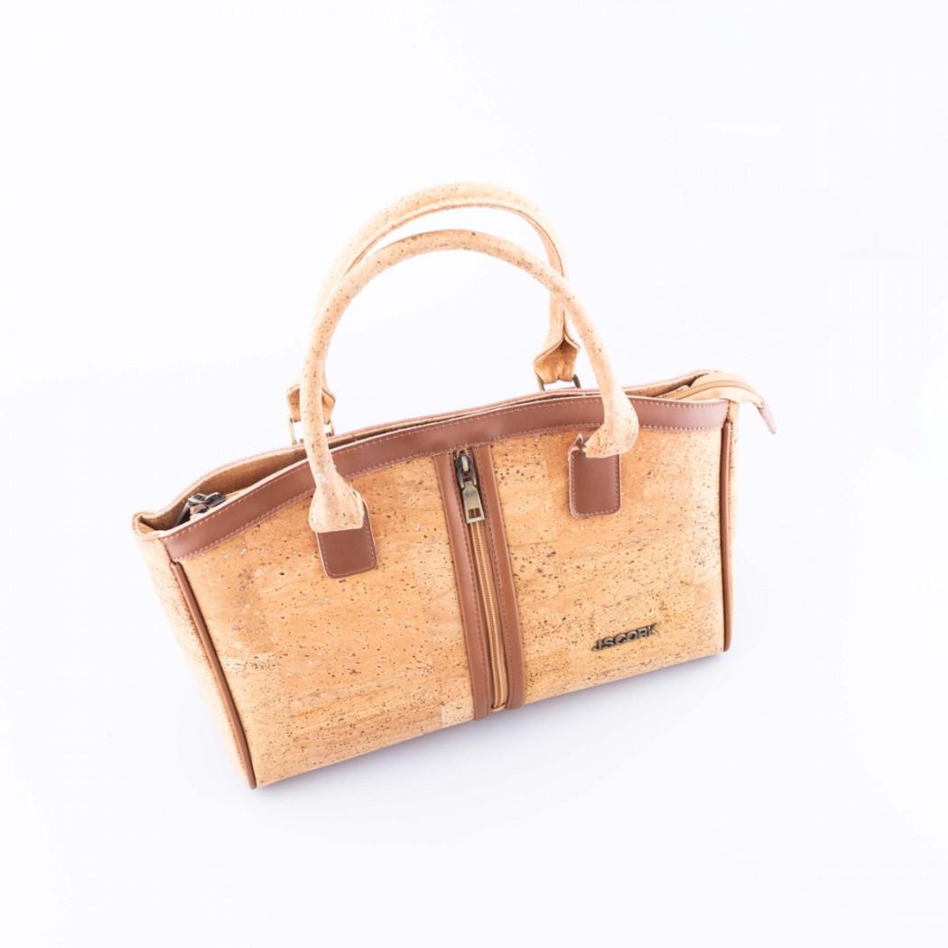 Cork Handbag with Zipper